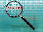 pic of white collar crime  - Close up of magnifying glass on cyber crime - JPG