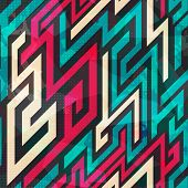 image of maze  - colorful maze seamless pattern with grunge effect - JPG