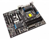 picture of cpu  - Computer motherboard isolated on white background without CPU cooler - JPG