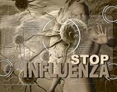 stock photo of influenza  - STOP INFLUENZA on image of viruses and a man made in 3d software - JPG