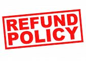 image of reimbursement  - REFUND POLICY red Rubber Stamp over a white background - JPG