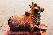 stock photo of shiva  - Statue of Lord Nandeeshwara  - JPG