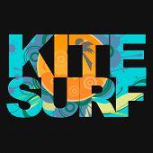 stock photo of kites  - Surfer free ride  typography - JPG