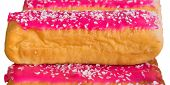 stock photo of eclairs  - Eclairs with pink glazing and coconut - JPG
