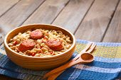 stock photo of reining  - Traditional Chilean dish called Porotos con Riendas  - JPG