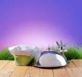 stock photo of chefs hat  - restaurant cloche and chef - JPG