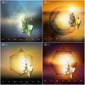 image of triangular pyramids  - Abstract 3D pyramids - JPG