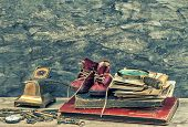 stock photo of vintage antique book  - Antique books photos keys and writing accessories - JPG