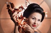 image of geisha  - Portrait of a Japanese geisha young beautiful woman - JPG