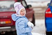 stock photo of snowball-fight  - The girl with cheeks - JPG