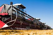 foto of harvest  - Combine harvesters in a wheat field ready for harvest - JPG