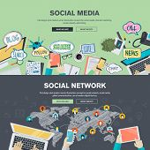 Постер, плакат: Set of flat design illustration concepts for social media and social network