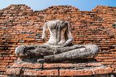 foto of gautama buddha  - Broken Buddha the ancient city of Thailand with ancient architecture style - JPG