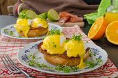 stock photo of benediction  - Eggs benedict prosciutto topped with Hollandaise sauce - JPG