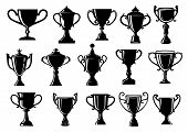 stock photo of trophy  - Sport and achievement trophy cups set for sporting - JPG