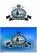 stock photo of yacht  - Emblem of the royal yacht club with yacht in sea - JPG