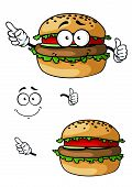 pic of hamburger  - Cartoon hamburger character with and without face and hands for takeaway or fast food design - JPG
