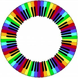 stock photo of rainbow piano  - round piano keyboard frame in rainbow colors - JPG