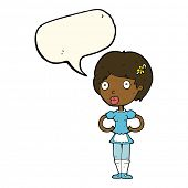 pic of maids  - cartoon woman in french maid outfit with speech bubble - JPG