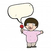 pic of child obesity  - cartoon fat child with speech bubble - JPG