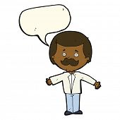 image of open arms  - cartoon mustache man with open arms with speech bubble - JPG