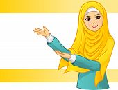 stock photo of muslim kids  - Muslim Woman Wearing Yellow Veil with Invite Arms Vector Illustration - JPG