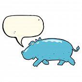 image of hippopotamus  - cartoon hippopotamus with speech bubble - JPG