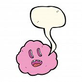 stock photo of spooky  - cartoon spooky cloud with speech bubble - JPG