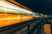 picture of high-speed train  - Budapest train at night in motion - JPG