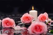 pic of stone-therapy  - Beautiful orange rose with candle and therapy stones  - JPG