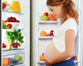 stock photo of refrigerator  - nutrition and diet during pregnancy - JPG