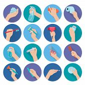 pic of personal hygiene  - Hand holding personal hygiene objects flat icons set isolated vector illustration - JPG