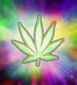 stock photo of trippy  - Marijuana Psychedelic Leaf - JPG