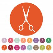 stock photo of barbershop  - The hairdressing scissors icon - JPG