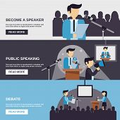 stock photo of debate  - Public speaking banner set with debate elements isolated vector illustration - JPG