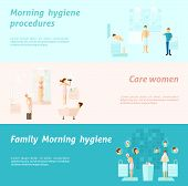 stock photo of personal care  - Morning personal and family hygiene and woman care flat horizontal banners set isolated vector illustration - JPG
