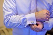 picture of cuff  - Groom buttons cuffs on the sleeve shirt - JPG