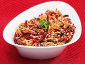 stock photo of bean sprouts  - Healthy salad made of carrot beetroot tuna fish and bean sprout - JPG
