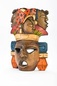 pic of mayan  - Indian Mayan Aztec wooden painted mask with roaring jaguar and human profiles isolated on white background - JPG