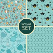 foto of baby spider  - Vector set of four seamless backgrounds - JPG