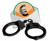 foto of handcuff  - Money and handcuffs over white background - JPG