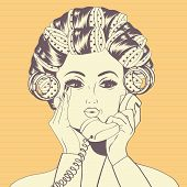 picture of hair curlers  - Woman with curlers in their hair talking at phone vector format - JPG