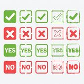 image of yes  - Yes and No square icons in silhouette and outline styles set - JPG