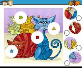 stock photo of brain-teaser  - Cartoon Illustration of Match the Pieces Educational Game for Preschool Children with Colorful Cats Fantasy Characters - JPG