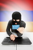 image of armenia  - Cybercrime concept with flag on background  - JPG