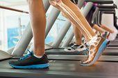 image of treadmill  - Digital composite of Highlighted bones of man on treadmill - JPG