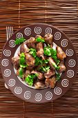 pic of cilantro  - Duck Hearts in butter with cilantro shot from above - JPG