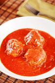 picture of meatball  - Meatballs with tomato sauce shot from above - JPG