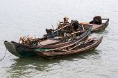foto of old boat  - old fishing boats at a fishermen - JPG