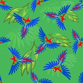 pic of green-winged macaw  - Macaw parrot seamless pattern - JPG